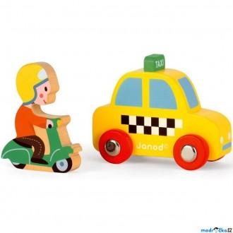 JIŽ SE NEPRODÁVÁ - Auto - Set dřevěný, Taxík a jezdec na skútru (Janod)