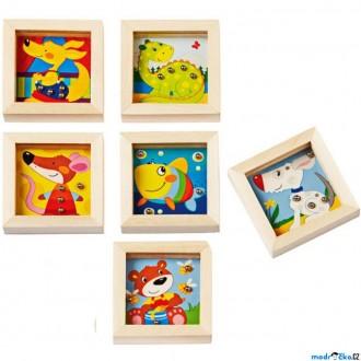 Dřevěné hračky - Motorická hra - Mini kuličkový labyrint, Zvířátka, 1ks (Goki)