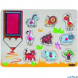 Dřevěné hračky - Razítka dřevěná - Na desce, Exotická zvířata, 9ks (Woody)