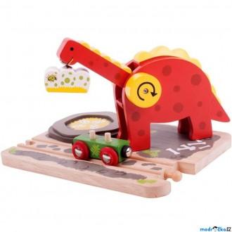 Vláčkodráhy - Vláčkodráha jeřáby - Dinosauří jeřáb (Bigjigs)
