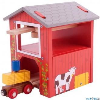 Vláčkodráhy - Vláčkodráha budovy - Farma, Seník s jeřábem (Bigjigs)
