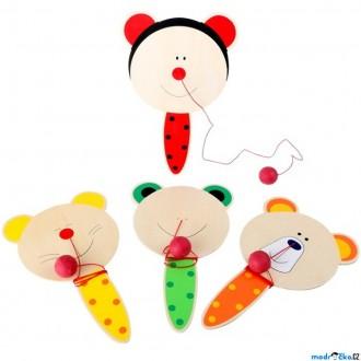 Dřevěné hračky - Motorická hra - Pinkání kuličky, Paddle Ball, 1ks (Legler)