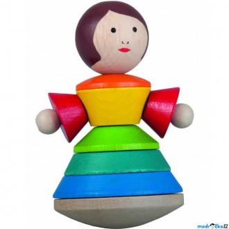 Dřevěné hračky - Skládačka s kroužky - Pyramida panenka Valerie (Detoa)