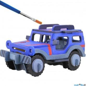 JIŽ SE NEPRODÁVÁ - 3D Puzzle s barvami - Jeep (4 barvy + štětec)