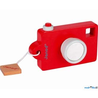 JIŽ SE NEPRODÁVÁ - Fotoaparát dřevěný - Se zvukem, Červený (Janod)