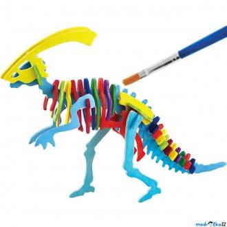 JIŽ SE NEPRODÁVÁ - 3D Puzzle s barvami - Parasaurolophus (4 barvy + štětec)