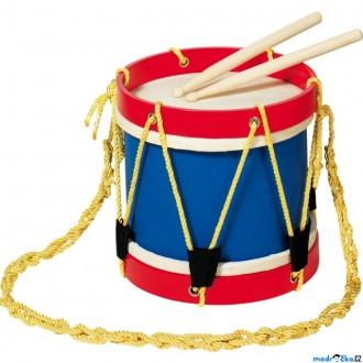 Dřevěné hračky - Hudba - Buben větší dřevěný, kůže, 22cm (Goki)