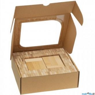 Stavebnice - Kostky - Dřevěné dominové přírodní, 200ks