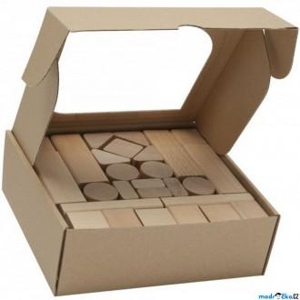 Stavebnice - Kostky - Dřevěné přírodní, 50ks