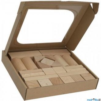 Stavebnice - Kostky - Dřevěné přírodní, 25ks