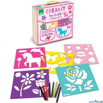 Dřevěné hračky - Kreslení - Šablony + pastelky, Pro dívky (Vilac)
