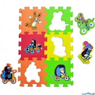 Puzzle a hlavolamy - Puzzle pěnové - 15x15cm, 6ks, Krtek a dopravní prostředky (HM Studio)