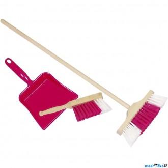 Dřevěné hračky - Hospodyňka - Dětská úklidová sada, Ružová (Goki)