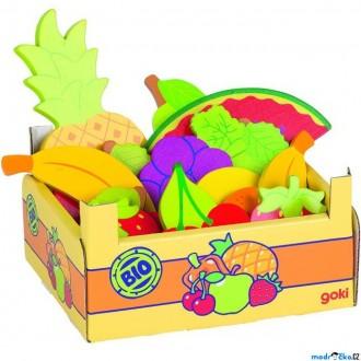 Dřevěné hračky - Dekorace prodejny - Krabice s ovocem, 15ks (Goki)