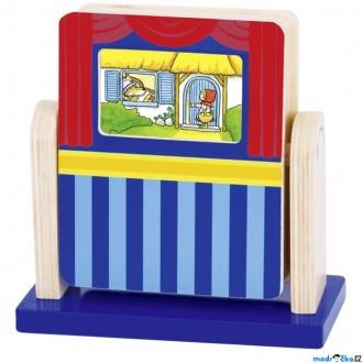 Dřevěné hračky - Divadlo - Otáčecí divadlo se 2 pohádkami (Goki)