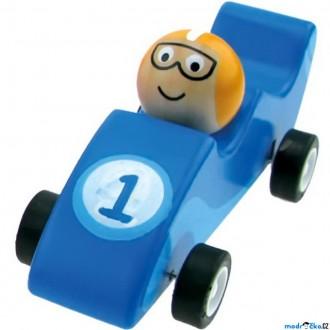 JIŽ SE NEPRODÁVÁ - Auto - Natahovací autíčko, Zavodní modré (Bino)