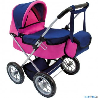 Dřevěné hračky - Kočárek pro panenky - Skládací s taškou, růžovo-modrý (Bino)