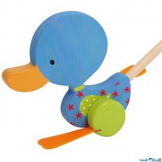 Dřevěné hračky - Jezdík na tyči - Plácačka, Kačenka modrá (Legler)