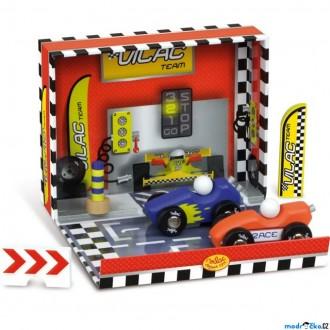 Dřevěné hračky - Auto - Set dřevěný v boxu, Závodní dráha (Vilac)
