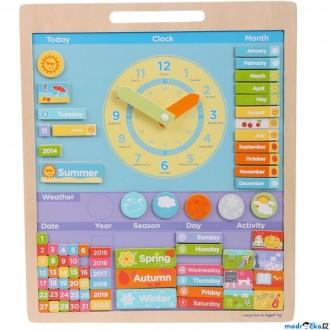 Dřevěné hračky - Hodiny - Magnetické s kalendářem, Angličtina (Bigjigs)