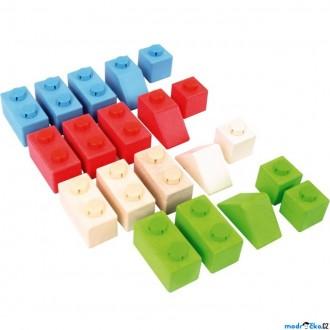 Stavebnice - Kostky - Dřevěné spojkostky, Set 1 základní, 20ks (Bigjigs)