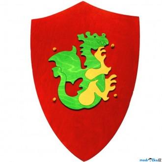 Dřevěné hračky - Dětská zbraň - Štít červený s drakem (Fauna)