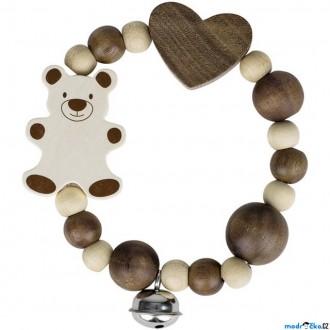 Pro nejmenší - Chrastítko - Kroužek korálkový, Přírodní medvídek (Heimess)