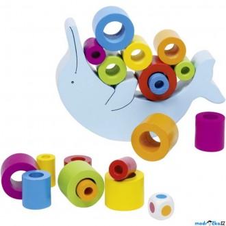 Dřevěné hračky - Motorická hra - Balancující delfín (Goki)