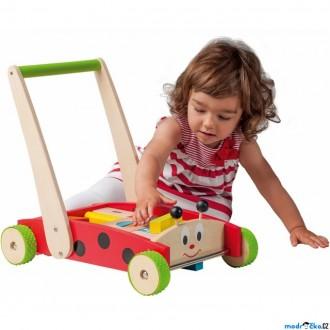 Pro nejmenší - Kostky - Barevné ve vozíku, Beruška s madlem, 24ks (Woody)