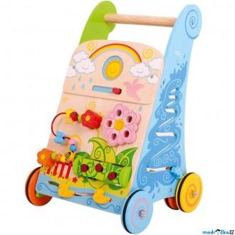 Pro nejmenší - Chodítko dřevěné - Motorický set, Zahrada (Bigjigs)