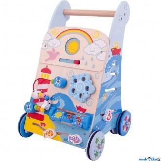 Pro nejmenší - Chodítko dřevěné - Motorický set, Moře (Bigjigs)