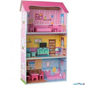 JIŽ SE NEPRODÁVÁ - Domeček pro panenky - Velký třípatrový barevný (Woody)