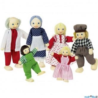 Dřevěné hračky - Panenky do domečku - Rodinka, 6ks (Goki)