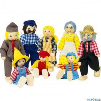 Dřevěné hračky - Panenky do domečku - Farmářova rodina, 8ks (Goki)