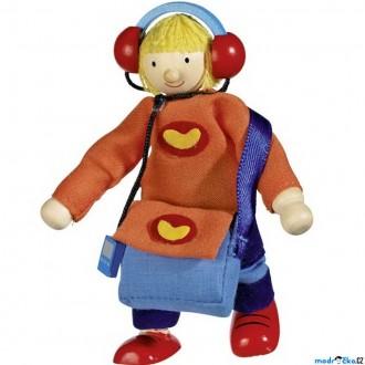 Dřevěné hračky - Panenky do domečku - Syn se sluchátky (Goki)