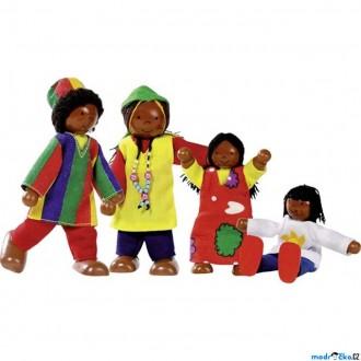 Dřevěné hračky - Panenky do domečku - Africká rodina, 4ks (Goki)