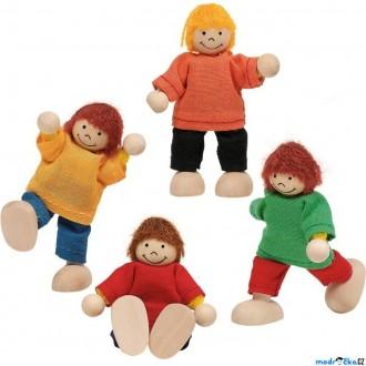 Dřevěné hračky - Panenky do domečku - Děti, 4ks (Goki)