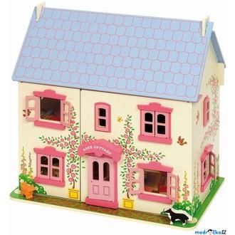 Dřevěné hračky - Domeček pro panenky - Růžový s vybavením (Bigjigs)