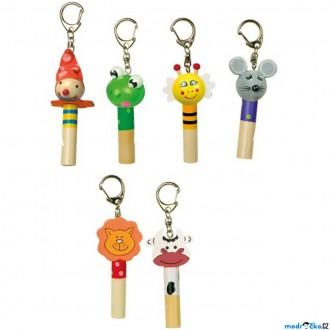 Dřevěné hračky - Hudba - Píšťalka přívěsek na klíče, Zvířátka, 1ks (Legler)