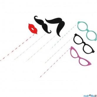 Dřevěné hračky - Maska - Kníry a brýle na špejlích, 6ks (Legler)