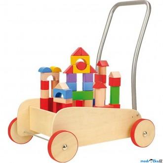 Pro nejmenší - Kostky - Barevné ve vozíku, Chodítko, 50ks (Legler)