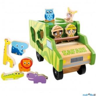 Dřevěné hračky - Vhazovačka - Auto safari se zvířátky (Legler)