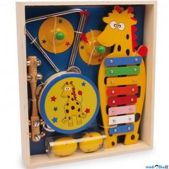 Dřevěné hračky - Hudba - Muzikální set, Žirafa, 6 nástrojů (Legler)