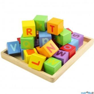 Stavebnice - Kostky - Barevné, S abecedou na desce, 30ks (Bigjigs)