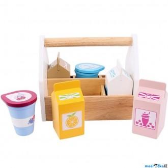 Dřevěné hračky - Dekorace prodejny - Mléčné výrobky v přepravce, 6ks (Bigjigs)