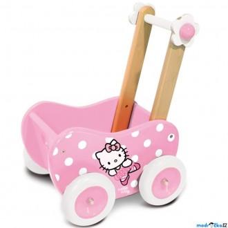 JIŽ SE NEPRODÁVÁ - Kočárek pro panenky - Hello Kitty dřevěný (Vilac)