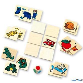Dřevěné hračky - Pexeso - Pexeso s kostkou, 36ks (Mertens)