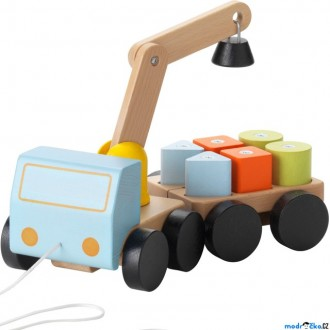 Dřevěné hračky - Auto - Jeřáb s kostkami MULA (Ikea)