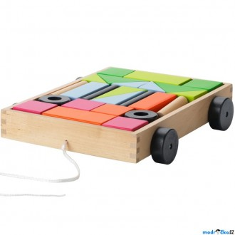 Stavebnice - Kostky - Barevné ve vozíku, MULA, 24ks (Ikea)