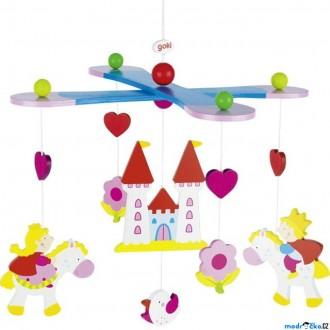 Dřevěné hračky - Kolotoč závěsný dřevěný - Princ, princezna a zámek (Goki)